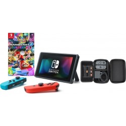 Nintendo Switch Portable Gaming System + PDP Nintendo Switch Play And Charge Console Case + Mario Kart 8 Deluxe For Nintendo Switch