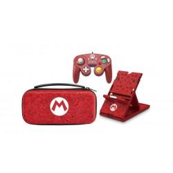 PDP Nintendo Switch Deluxe Travel Case Mario Remix Edition + Super Smash Bros GamePad + Hori Mario Play Stand