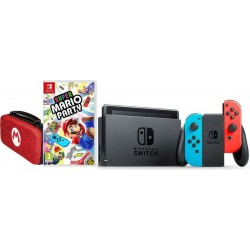 Nintendo Switch Portable Gaming System Blue/Red + Super Mario Party Game + Pouch