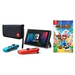 Nintendo Switch Portable Gaming System + Premium Travel Case + Nintendo Mario + Rabbids Kingdom Battle Game