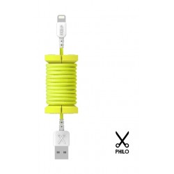 Philo Apple certified MFI 1 Meter Cable Lightning Cable with Spool Organizer (PH004YE) - Yellow