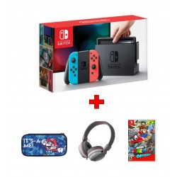 Snakebyte Nintendo Switch Stereo Headphone (SB910739) - Grey + PDP Nintendo Switch Slim Travel Case Mario Camo Edition + Nintendo Switch Portable Gaming System - Blue/Red + Super Mario Odyssey Nintendo Switch Game (SUPERMARIOODD)