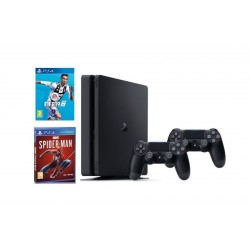 Sony Playstation 4 Slim 1TB Console + 2 Controllers + Spider-Man + FIFA 19 Standard Edition: PlayStation 4 Game