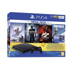PlayStation 4 Slim 500GB + GT Sport + Uncharted 4 + Horizon Zero Dawn + 3M PSN Card + Fortnite Voucher