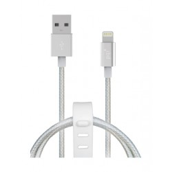 PQI 1m Wooven Lightning Cable To USB Cable -  Silver