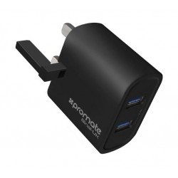 Promate Binal 2.4A Ultra-Compact Dual USB Port Wall Charger - Black
