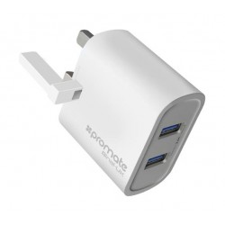Promate Binal 2.4A Ultra-Compact Dual USB Port Wall Charger - White