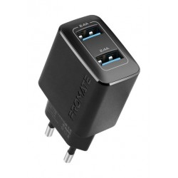 Promate BiPlug 12W Wall Charger with Dual USB Ports - Black