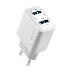Promate BiPlug 12W Wall Charger with Dual USB Ports - White