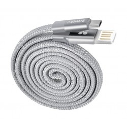 Promate Coiline-C Auto-Rolling Reversible 3.2Ft USB-A to Type-C Cable - Grey