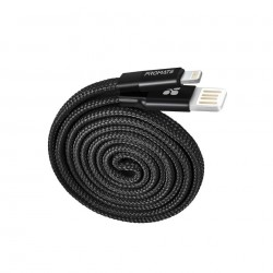 Promate Coiline-i Auto-Rolling Reversible 3.2Ft USB-A to Lighting Cable - Black