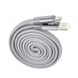 Promate Coiline-i Auto-Rolling Reversible 3.2Ft USB-A to Lighting Cable - Grey