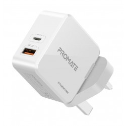 Promate Power Cube 36W Fast Charging Dual Port Wall Charger with Type-C USB - White