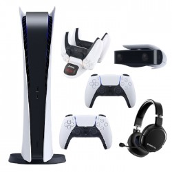 Sony PlayStation 5 Digital Edition Console + Sony PS5 DualSense Wireless Controller + Steelseries Wireless Gaming Headset Arctis1 PS5 + DOBE PS5 Dual Charging Dock + Sony PS5 HD Camera