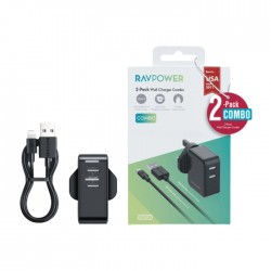RAVPower 24W, 2 USB Ports Wall Charger + 1M Lighting Cable - Black