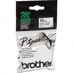 Brother M12-K231 Non-Laminated Black on White Labelling Tape (20pcs)