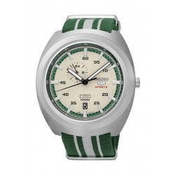Seiko Mechanical Analog Gents Fabric Watch (A285J) - Beige / Green