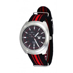 Seiko Mechanical Analog Gents Fabric Watch (A287J) - Black / Red
