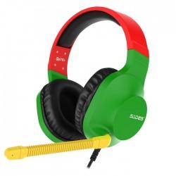 Sades Spirits SA721 Gaming Headset Rasta 50mm Speakers Controls on Left Earcup Flexible Microphone
