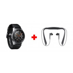 Samsung Galaxy Watch 46mm - Black/Silver + Samsung Level U Pro Bluetooth Wireless Earphone - Black