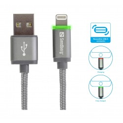 Sandberg 1M Sync and Charge LED Lightning Cable (480-10) - Grey