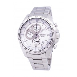 Seiko SB317P Gents Quartz Chronograph Watch Metal Strap - Silver