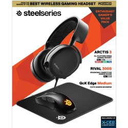 Steelseries All-In-One Gaming Kit  (Arctis 3 Black + Rival 300S + QCK Medium Mousepad)