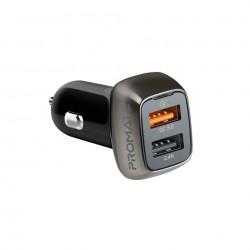 Promate Dual USB Ports Car Charger (Scud-30) - Black