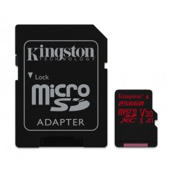 Kingston Canvas React Class 10 UHS-I U3 MicroSD Card + Adapter - 256GB