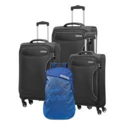 American Tourister Art Holiday (55+68+80) CM Soft Luggage Set + Backpack  - Black