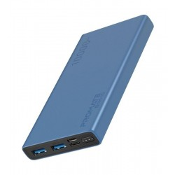 Promate Bolt-10 10000mAh Compact Smart Charging Power Bank - Blue