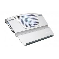 Promate Ergonomic Multi-Level Aluminium Laptop Cooling Stand - Silver