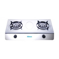 Wansa Stainless Steel Gas Stove 2 Burner with FSD (2-XS1605) - Silver