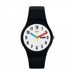 Swatch Elementary Quartz Analog 41mm Unisex Rubber Watch (SUOB728)