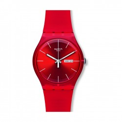Swatch Red Rebel Quartz Analog 41mm Unisex Rubber Watch (SUOR701)