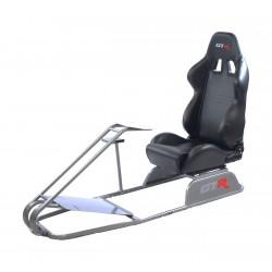 GTR Simulator GTS Model Simulator with Diamond Silver Frame Adjustable Leatherette Real Racing Seat - Black