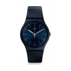 Swatch 41 mm Unisex Analogue Rubber Watch (SWASUON136) - Dark Blue