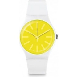 Swatch 41mm Analog Unisex Rubber Watch (SWASUOW165) - White
