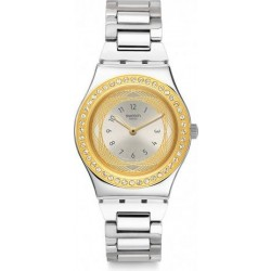 Swatch 33mm Analog Ladies Metal Watch (SWAYLS210G) - Silver