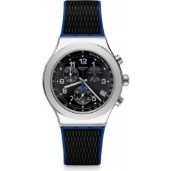 Swatch 43mm Chronograph Gents Rubber Watch (SWAYVS451) - Black
