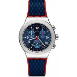 Swatch 43mm Chronograph Gents Rubber Watch (SWAYVS452) - Blue