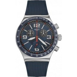Swatch 43mm Chronograph Gents Rubber Watch (SWAYVS454) - Blue