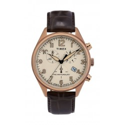 Timex Waterbury Traditional Chronograph 42mm Leather Strap Watch (TW2R88300) - Dark Brown