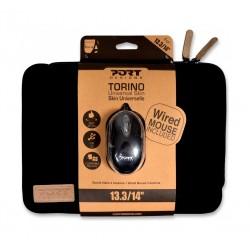 "Port Torino Skin 13.3"" Toploader + Wired Mouse - Black"