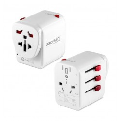 Promate TripMate-PD18 Multi-regional Travel Adapter - White
