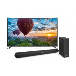 Wansa 65 inch Curved 4K Ultra HD Smart LED TV + JBL Cinema SB150 Bluetooth 150W Soundbar System