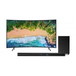 Samsung 55 inch Curved Ultra HD Smart LED TV + JBL Bar 2.1 Channel 300W Soundbar with Wireless Subwoofer