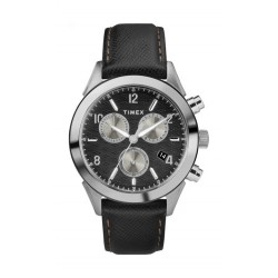 Timex 40mm Gents Leather Chronograph Watch (TW2R90700) - Black