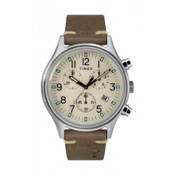 Timex 42mm Gents Leather Chronograph Watch (TW2R96400) - Brown