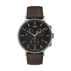 Timex Fairfield Chronograph 41mm Leather Strap Watch - TW2T11500 a